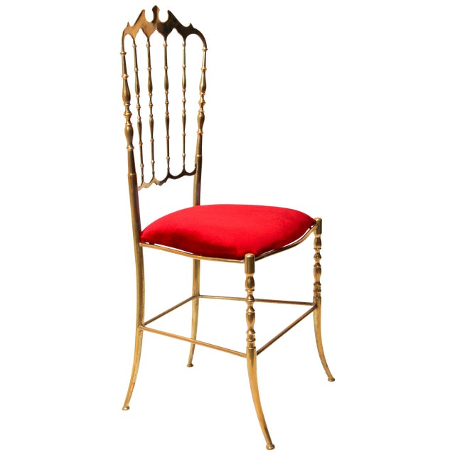 Chiavari Polished Brass Chair With Red Velvet, Italy, 1960s For Sale