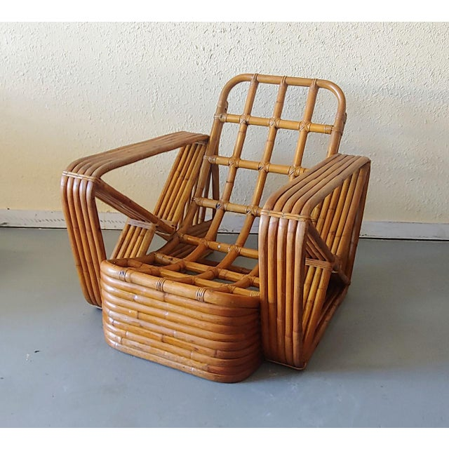 Mid 20th Century Paul Frankl Style Swoop Seat Rattan Lounge Chair For Sale - Image 13 of 13