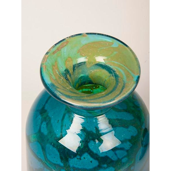 A Pair of Vintage Hand Blown Blue and Green Glass Decanters circa 1970 For Sale - Image 9 of 11