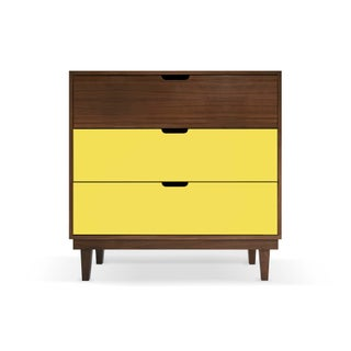 Kabano Modern Kids 3-Drawer Dresser in Walnut With Yellow Finish Preview