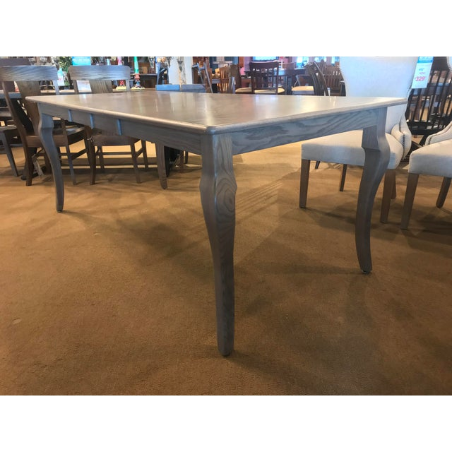Amish Made Whitewashed Oak Expandable Dining Table For Sale - Image 4 of 9