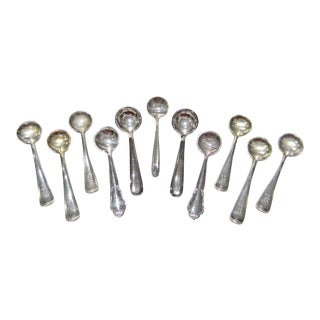 Early 20th Century Antique Sterling and Silver Plate Salt Spoons - Set of 11 For Sale