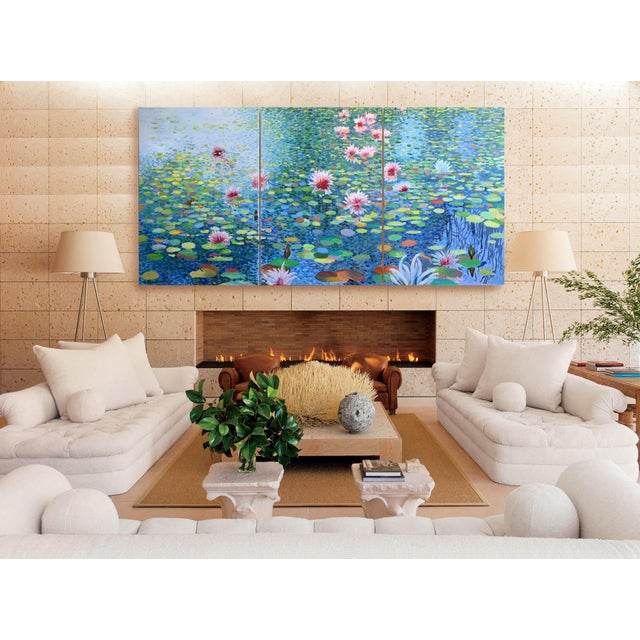 "Blue ""Waterscape"" Geoff Greene Contemporary Triptych in 3 Sections For Sale - Image 8 of 9"
