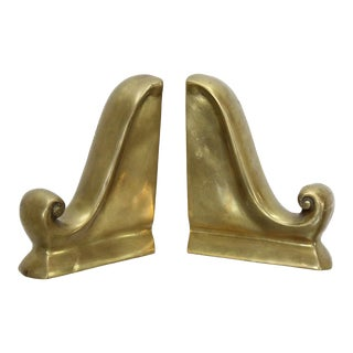 Mid-Century Brass Scroll Bookends