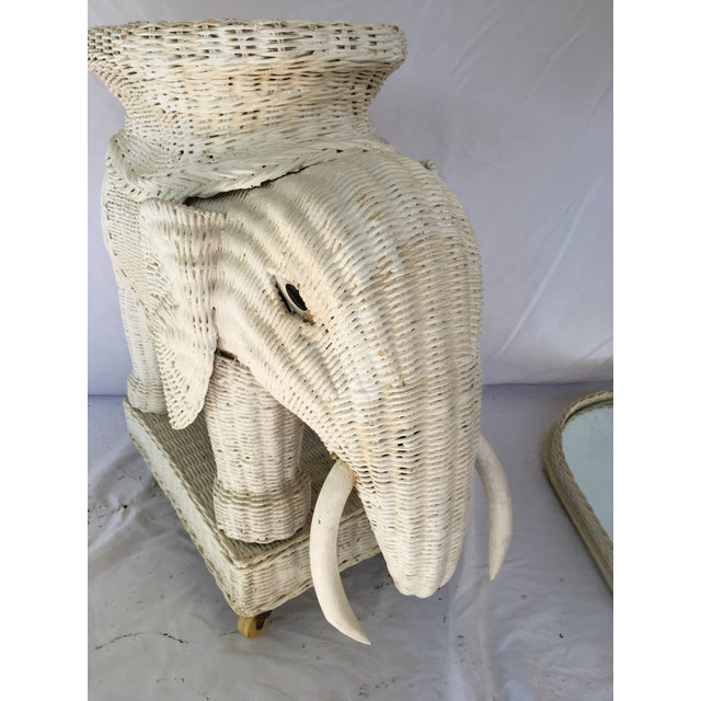 Vintage White Wicker Elephant Side Table With Mirrored Tray For Sale - Image 11 of 12