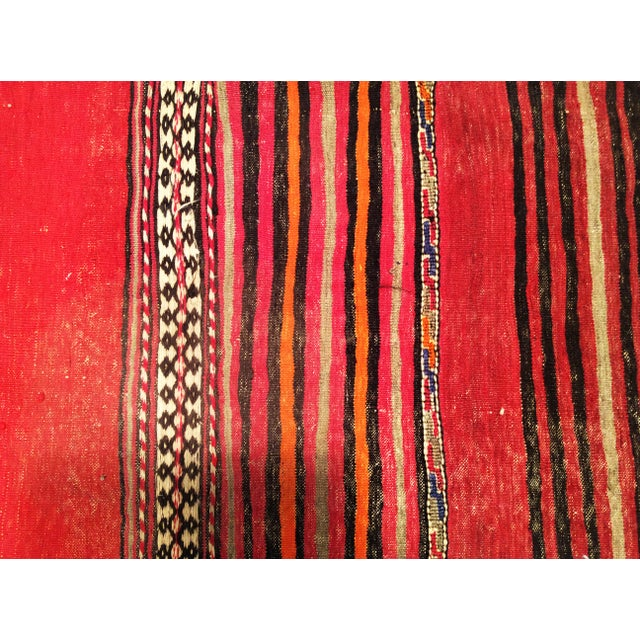 1950s Moroccan Red and Orange Wool Kilim Runner - Image 8 of 9