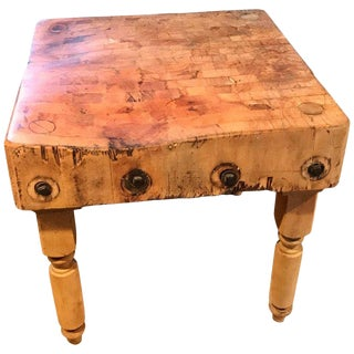 Antique Butcher Block Table For Sale