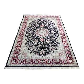 """Vintage Hand Knotted Wool Kashan Persian Area Rug 5'10"""" X 9'3"""" For Sale"""