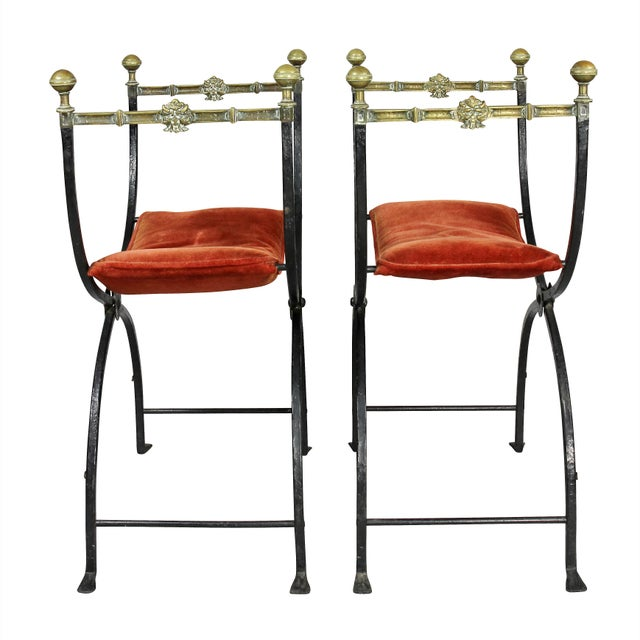 Metal Italian Wrought Iron and Bronze Curule Chairs - a Pair For Sale - Image 7 of 11