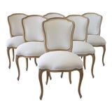 Image of Set of Six Wood Louis XV Style Dining Chairs in Natural Belgian Linen For Sale