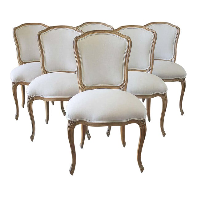 Set of Six Wood Louis XV Style Dining Chairs in Natural Belgian Linen For Sale