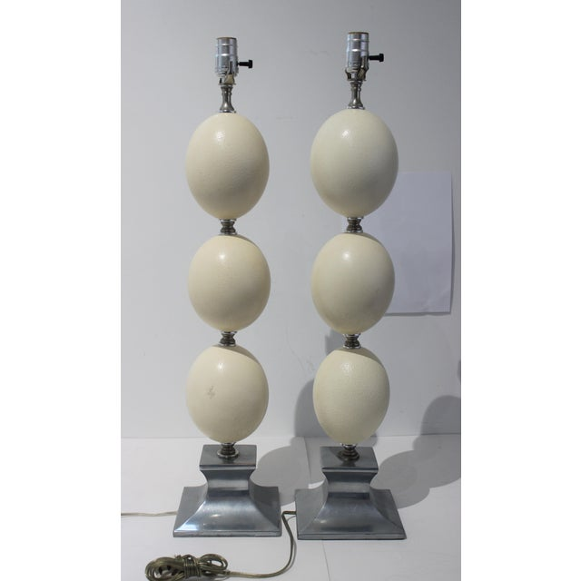 Tony Duquette Mid-Century Modern Tony Duquette Style Ostrich Egg Table Lamps - a Pair For Sale - Image 4 of 13