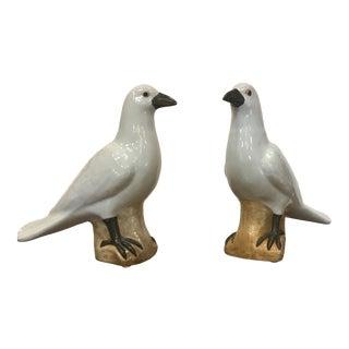 White Ceramic Bird Figurines- A Pair For Sale