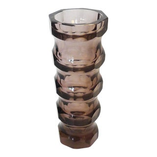 Czech Smoke Hand-Cut Faceted Crystal Vase For Sale