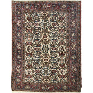 """1930's Antique Authentic Persian Isfahan Rug- 4'2"""" X 6'6"""""""