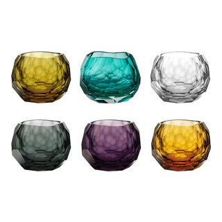 Glacer Double Old Fashioned Glasses, Assorted Colors, Set of 6 (Amber, Olive, Purple, Cyan, Teal, Clear) For Sale