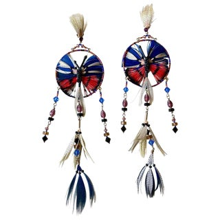 Valentino Resort Butterfly Dream Catcher Feather Shoulder Duster Earrings For Sale