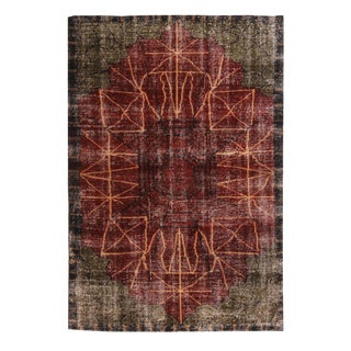 Vintage Art Deco Inspired Geometric Red and Green Wool Rug - 5′4″ × 7′8″ For Sale