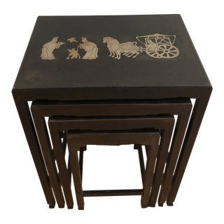 1960s Mid Century Modern Chinese Lacquered Nesting Side Tables-Set of 4 For Sale