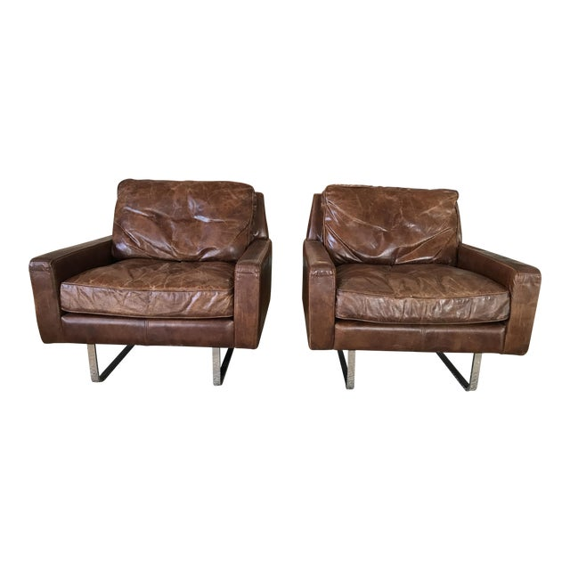 Timothy Oulton Modern Leather Club Chairs - A Pair - Image 1 of 8