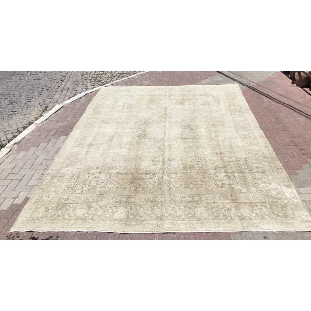 Oversized Antique Distressed Hand Knotted Oushak Rug For Sale - Image 11 of 11