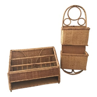 Vintage Mid Century Bamboo Rattan Desk Accessories- 2 Pieces For Sale
