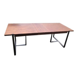 Industrial Walnut Top Extending Metal Legged Dining Table