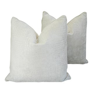 "Bohemian Chic Bone/Off White Crocodile Velvet Feather/Down Pillows 24"" Square - Pair For Sale"