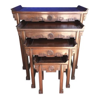 Carved Chinese Nesting Tables Set of Four For Sale