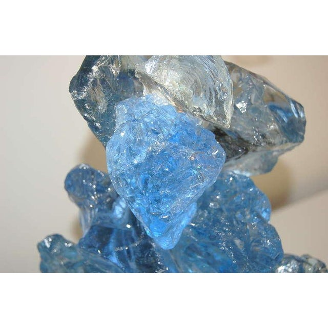 Glass Rock Table Lamps by Swank Lighting Blue Crystal - a Pair For Sale In Little Rock - Image 6 of 10