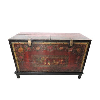 19th. Century Antique Polychrome Lift Top Chinese Storage Chest Trunk / Sideboard & Stand Preview