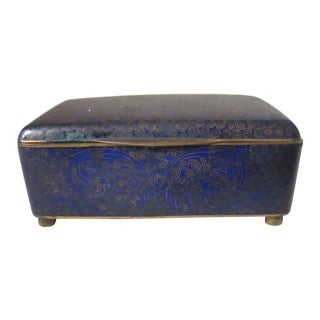 1940s Chinese Blue Cloisonne Box For Sale