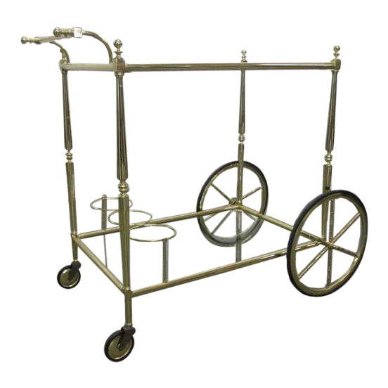 French Two Tiered Brass Bar Cart For Sale