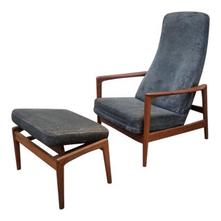 Danish Modern Folke Ohlsson for Dux Teak Reclining Lounge and Ottoman Newly Upholstered - 2 Pieces For Sale