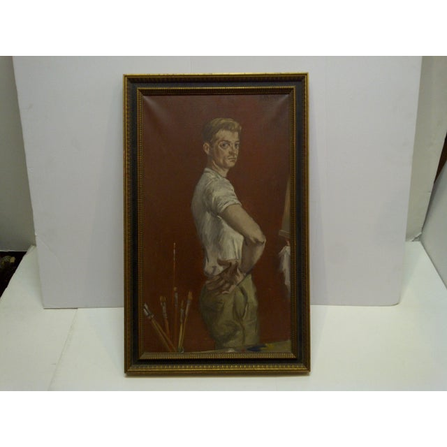 "1960s ""The Painters Boyfriend"" Signed Framed Painting on Canvas by Frederick McDuff For Sale - Image 9 of 9"