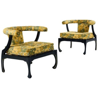 James Mont Style Black Lacquer Gilt Asian Modern Chinoiserie Armchairs by Harris For Sale