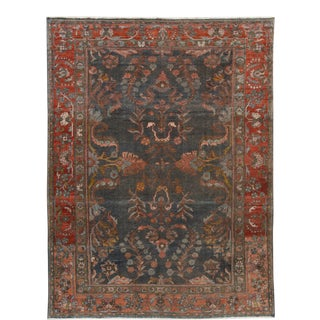 Early 20th Century Antique Gray Mahal Wool Rug 9 X 11 For Sale