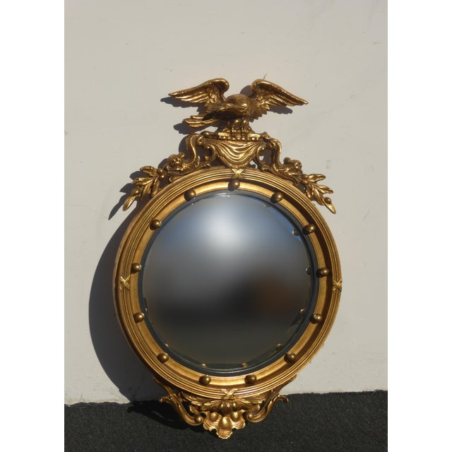 Vintage Federal Eagle Convex Bullseye Gold Wall Mantle Mirror For Sale - Image 11 of 11