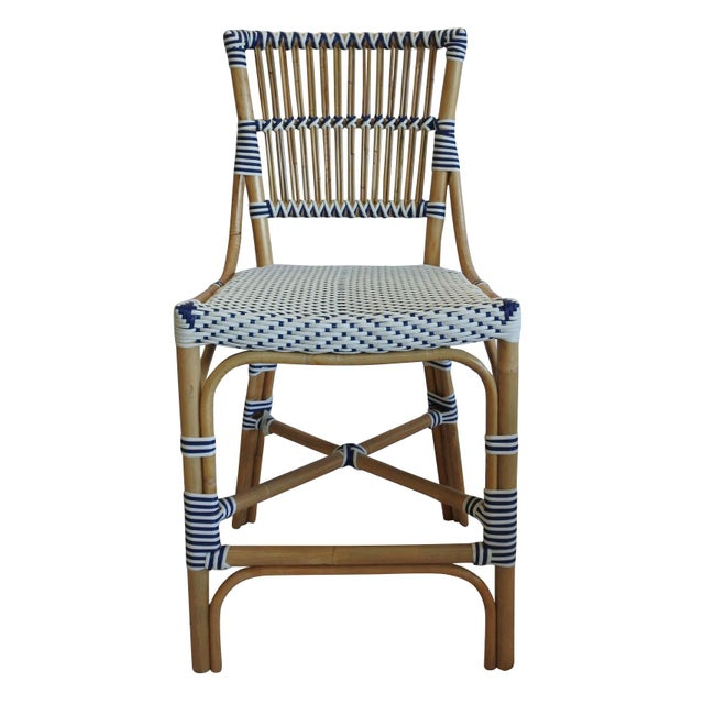 Madrid Counter Chair, Navy Blue, Rattan For Sale - Image 4 of 4