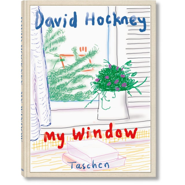"""Cream TASCHEN Books Autographed David Hockney """"My Window"""" Painting Collection, Collectors Edition For Sale - Image 8 of 8"""