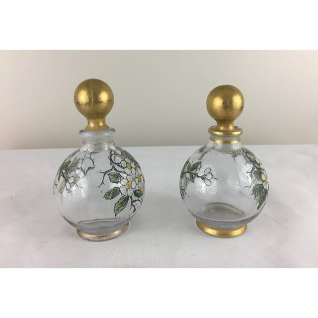 Antique French Painted Glass Cruets - A Pair For Sale - Image 4 of 9