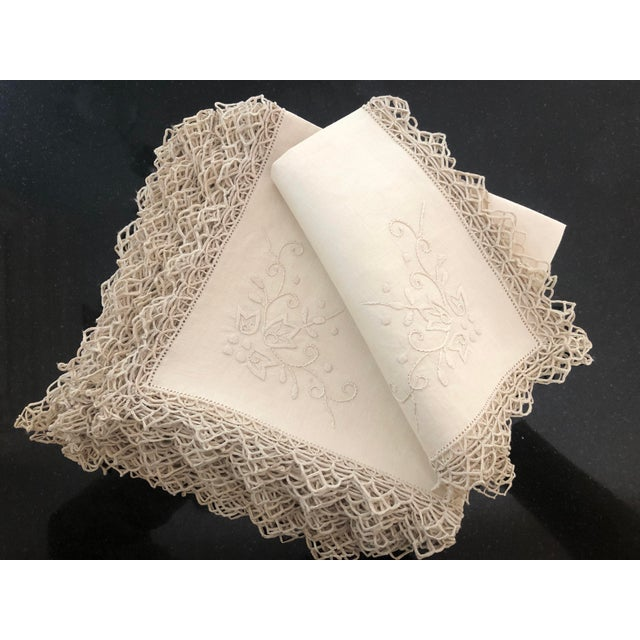 Vintage set of 12 Linen Dinner Napkins, Italian Hand-Embroidered Reticella. Considered the earliest type of needle lace,...