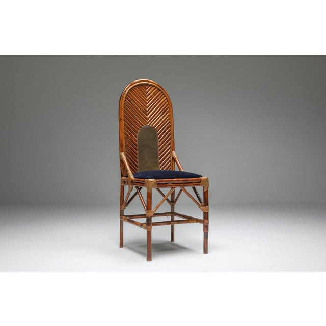 Brown 1970s Vivai Del Sud Dining Chairs in Bamboo, Brass & Blue Velvet - Set of 8 For Sale - Image 8 of 13
