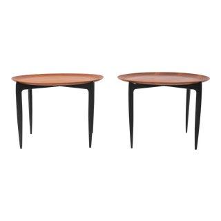 Fritz Hansen Teak Tray Tables with Ebonized Frame - a Pair