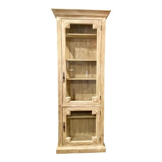 Douglas Fir Reclaimed Wood and Glass Transitional Igarine Tall Display Cabinet For Sale