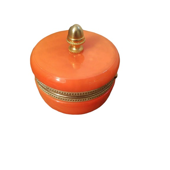 1940s Orange Opaline Trinket Box with Brass Finial For Sale In San Francisco - Image 6 of 6