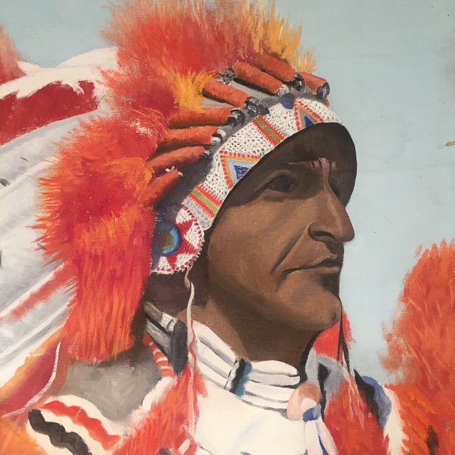 Indian Chief Oil Portrait - Image 5 of 7