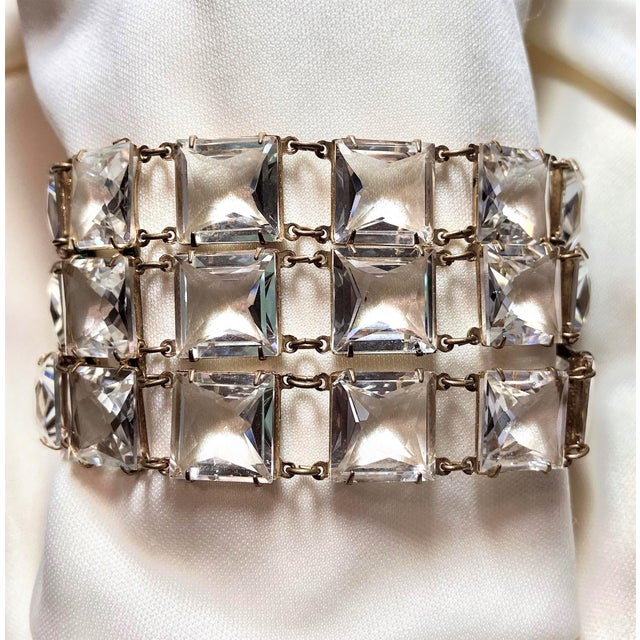 Mid-Century Clear Faceted Crystal Bracelet For Sale - Image 9 of 9