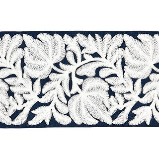 Sample, Scalamandre Coventry Embroidered Navy Tape For Sale
