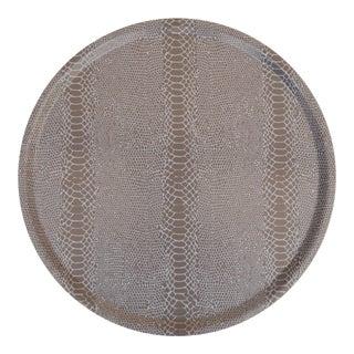 Snakeskin Birchwood Tray in Linen For Sale